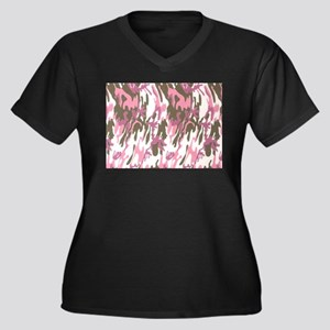 Pink Army Camouflage Plus Size T-Shirt