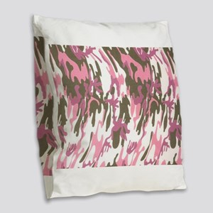 Pink Army Camouflage Burlap Throw Pillow