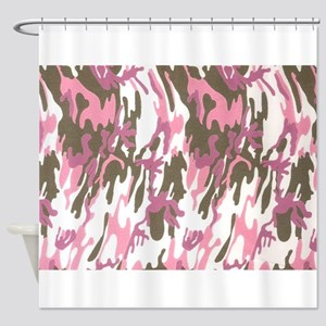 Pink Army Camouflage Shower Curtain