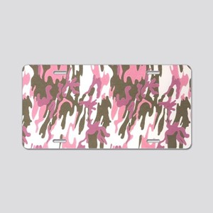 Pink Army Camouflage Aluminum License Plate