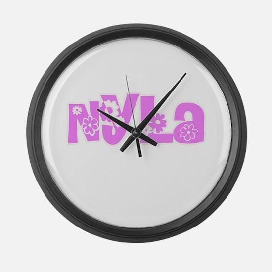 Nyla Flower Design Large Wall Clock