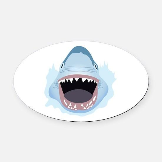 Shark Attack Oval Car Magnet
