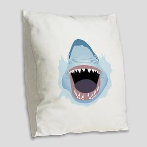 Shark Attack Burlap Throw Pillow
