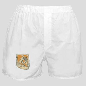Kangaroo Boxing Man Etching Boxer Shorts
