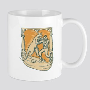 Kangaroo Boxing Man Etching Mugs