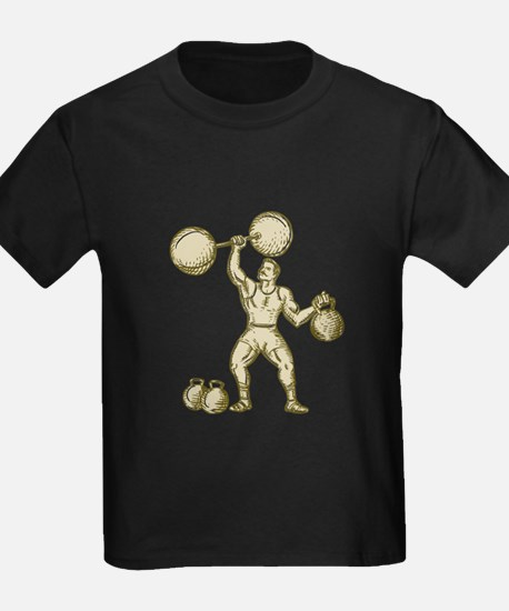 Strongman Lifting Barbell Kettlebell Etching T-Shi