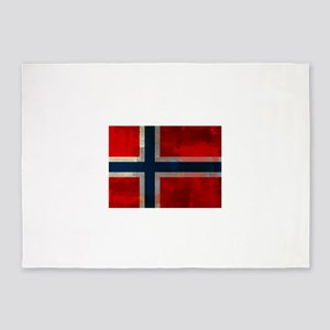 Grunge Norwegian Flag 5'x7'Area Rug