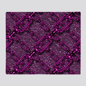 Charming shiny chains purple pink Throw Blanket