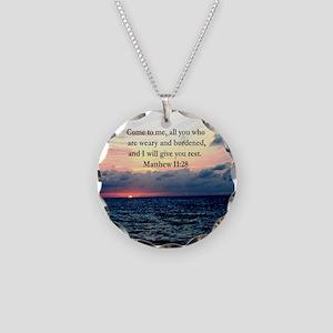 MATTHEW 11:28 Necklace Circle Charm