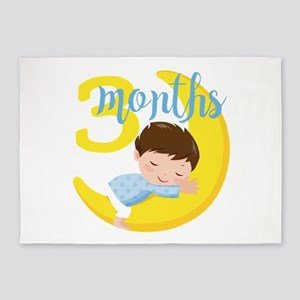3 Months Baby Boy Monthly Milestone 5'x7'Area Rug
