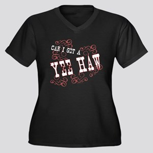 Yee Haw Women's Plus Size V-Neck Dark T-Shirt