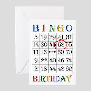 58th birthday Bingo card Greeting Cards