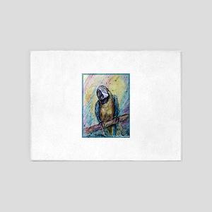 Blue/gold macaw! Bird art! 5'x7'Area Rug