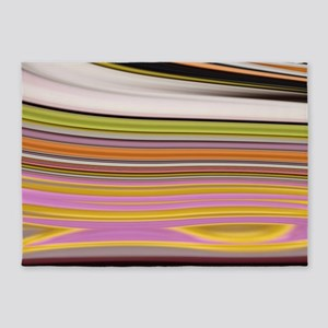 yellow green pink lines 5'x7'Area Rug