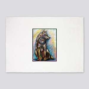 Wolf! Wldlife art! 5'x7'Area Rug