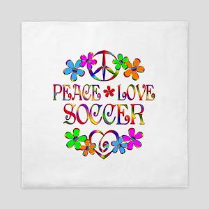 Peace Love Soccer Queen Duvet
