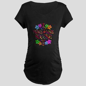 Peace Love Soccer Maternity Dark T-Shirt