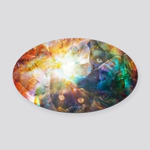 The Cat Galaxy Oval Car Magnet