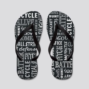 Baseball Game Chalkboard Words Flip Flops