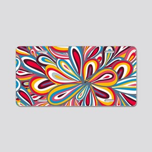 Flowers Bright Aluminum License Plate