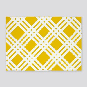 Yellow and White Gingham 5'x7'Area Rug