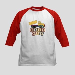 Dump Truck Baby Boy Blocks Kids Baseball Jersey