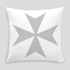 Silver Maltese Cross Everyday Pillow