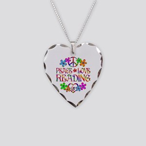 Peace Love Reading Necklace Heart Charm