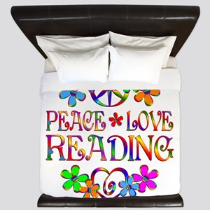 Peace Love Reading King Duvet