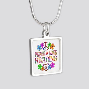 Peace Love Reading Silver Square Necklace