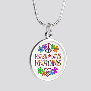Peace Love Reading Silver Round Necklace