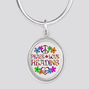 Peace Love Reading Silver Oval Necklace
