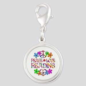 Peace Love Reading Silver Round Charm