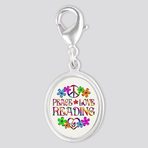 Peace Love Reading Silver Oval Charm