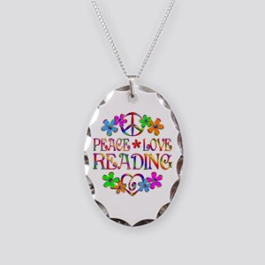 Peace Love Reading Necklace Oval Charm