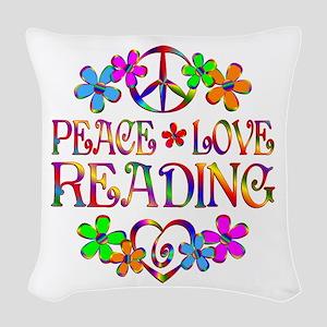 Peace Love Reading Woven Throw Pillow