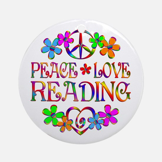 Peace Love Reading Ornament (Round)