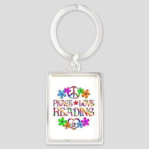 Peace Love Reading Portrait Keychain