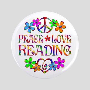 Peace Love Reading Button