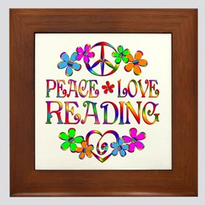 Peace Love Reading Framed Tile
