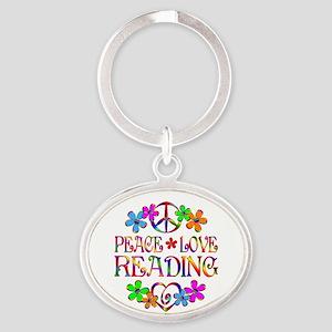 Peace Love Reading Oval Keychain