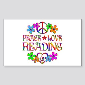 Peace Love Reading Sticker (Rectangle)