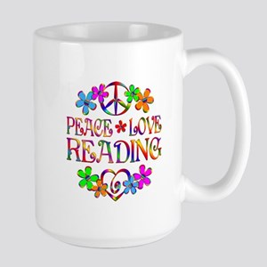 Peace Love Reading Large Mug