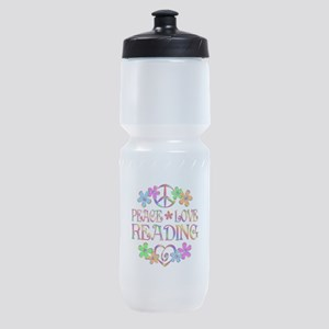 Peace Love Reading Sports Bottle