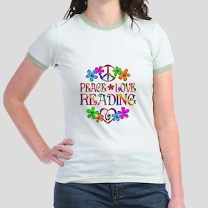 Peace Love Reading Jr. Ringer T-Shirt