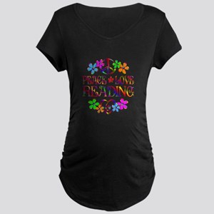 Peace Love Reading Maternity Dark T-Shirt