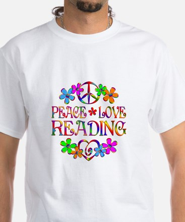 Peace Love Reading White T-Shirt