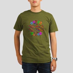 Peace Love Reading Organic Men's T-Shirt (dark)