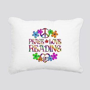 Peace Love Reading Rectangular Canvas Pillow