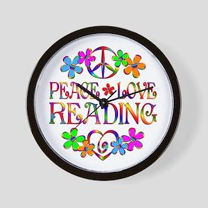Peace Love Reading Wall Clock